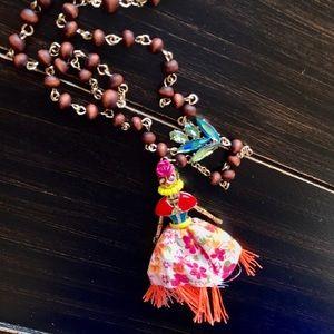 Betsey Johnson Calypso Skull Girl Pendant Necklace